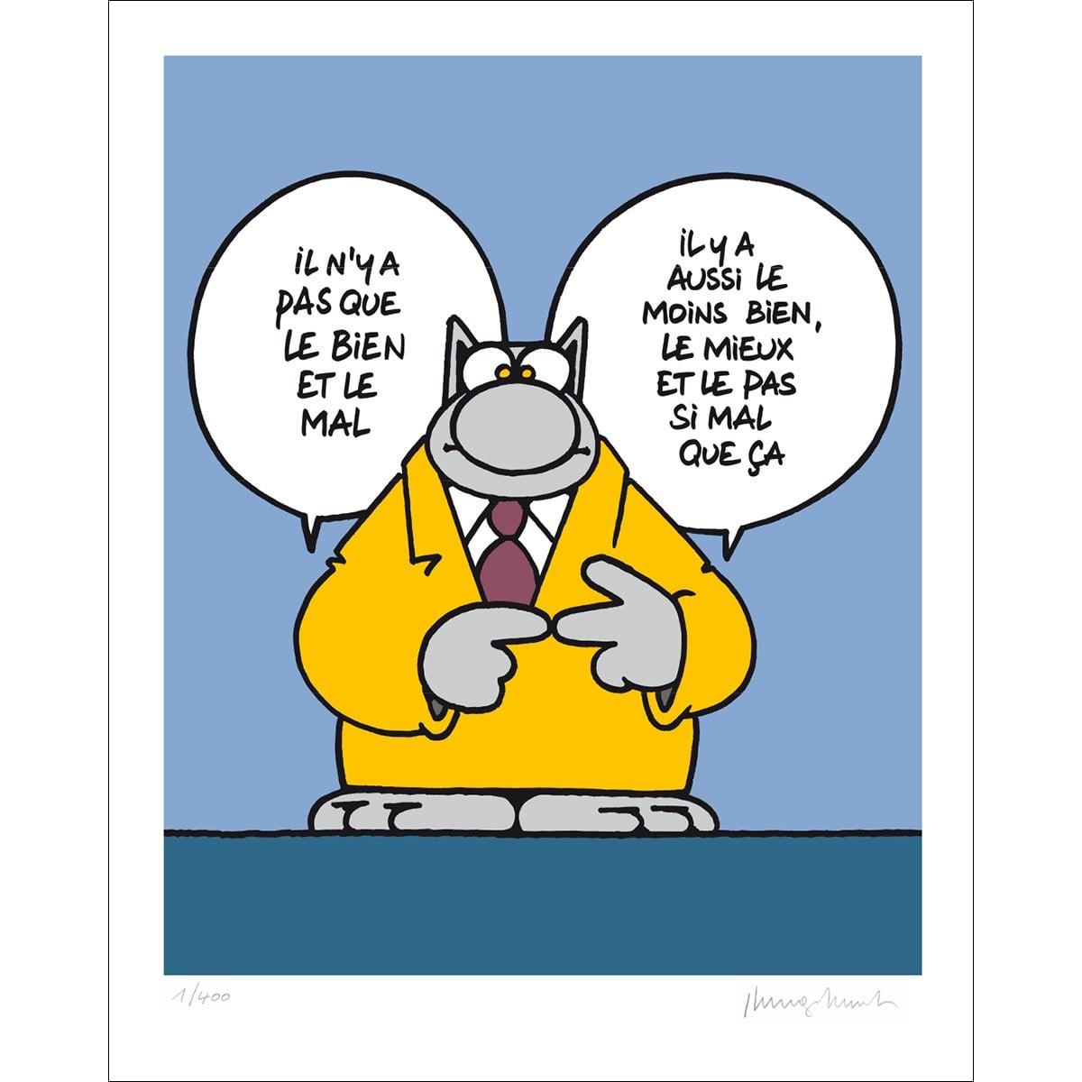 HUMOUR : Le Bien et le Mal, avec des nuances, selon le Chat (Image) Serigraphie-bien-et-mal-50x40