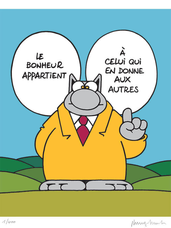 Sérigraphie Le Chat par Geluck - Le bonheur - Brüsel